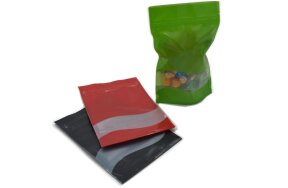 DOY-PACK ZIP BAGS COLOURED WITH WINDOW